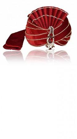 Fashionable Stone Work Red Velvet Designer Groom Wedding Pagri ZP0106