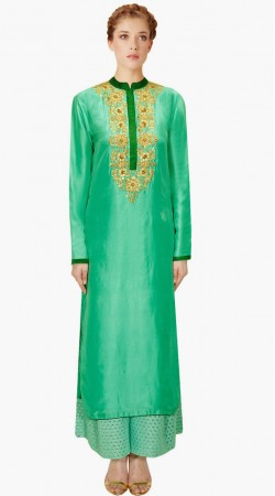 Fashionable Turquoise Silk IndoWestern Salwar Kameez With Dupatta SUMA2709