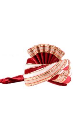Fashionable White And Red Velvet Turban For Groom ZP0710