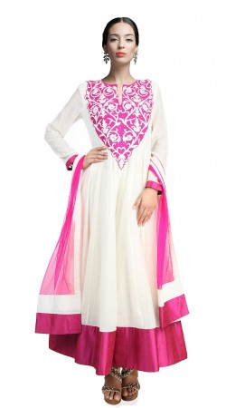 Fashionable White Chanderi Silk Ankle Length Anarkali Suit SUUDS17602