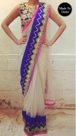 Fashionable White Net Designer Replica Saree With Designer Blouse BP0108
