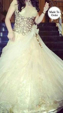 Fashionable White Net Embroidered Replica Indowestern Gown SMDS0UUU