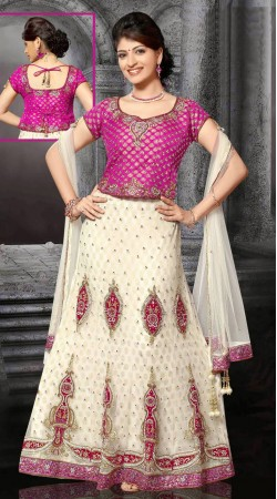 Fashionable White Net Wedding Lehenga Choli With Dupatta DT90439