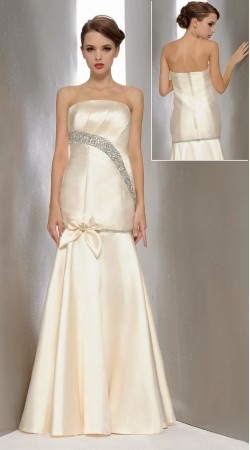 Fashionable White Satin Bow Style Designer Prom Dress 3FD4062245