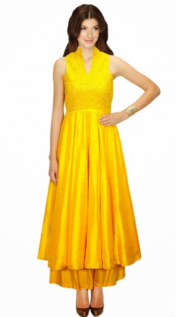 Fashionable Yellow Silk Designer Suit With Palazzo Pant SUMA1309