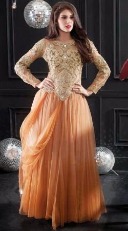 Fashionable Yoke Embroidered Light Orange Net Indowestern Gown