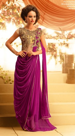 Fashionable Yoke Embroidered Purple Net Designer Indowestern Gown BR105091