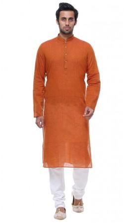 Fine Looking Dark Orange Cotton Mens Kurta With White Churidar GR141906