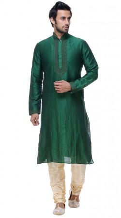 Fine Looking Green Silk Mens Embroidered Neck Kurta With Churidar Bottom GR139903
