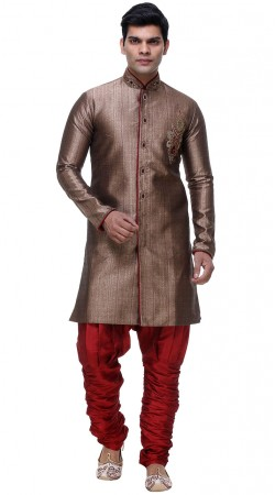 Fine Looking Grey Brocade Indo Western Sherwani With Red Breeches Pant GR132304