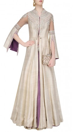 Fine Looking Off White Silk Designer Long Choli With Contrast Skirt SUUDL21719