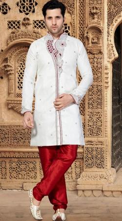 Fine Looking White Jacquard Mens Designer Sherwani RL1151601