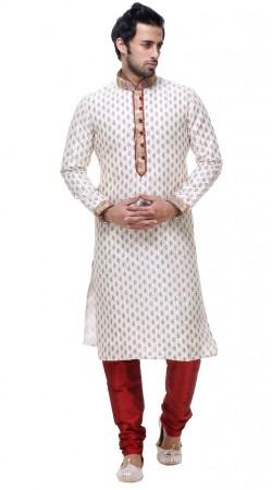 Fine Looking White Silk Printed And Thread Work Mens Kurta Pajama GR133905