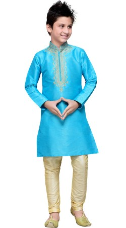 Firozi Blue Art Silk Boy Kid Kurta Pajama GR14812