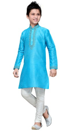 Firozi Blue Art Silk Kurta Pajama For Kid Boy GR15012