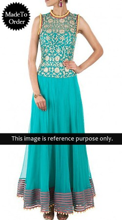 Firozi Net Replica Long Length Anarkali Suit 014