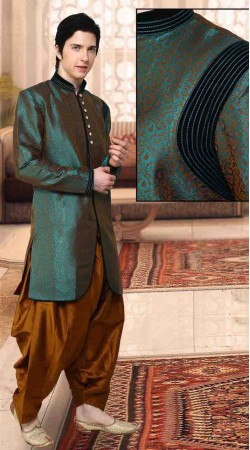 Firozi Kela Silk And Art Dupion Silk Polo Indowestern Dhoti Sherwani DT12638