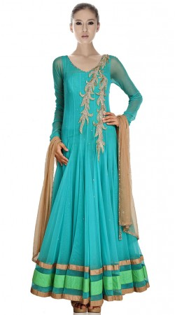 Firozi Net Floor Length Anarkali Suit SU2901