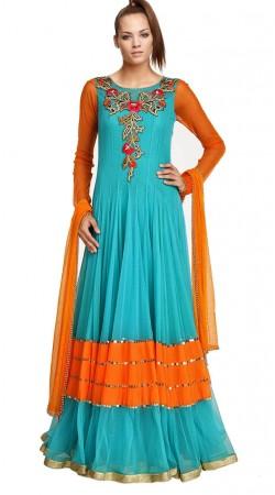 Firozi Net Floor Length Anarkali Suit SU3001