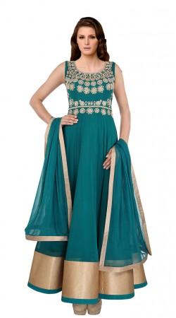 Teal Net Golden Border Floor Length Anarkali Suit With Dupatta SUUDS27904