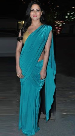 Firozi Satin Plain Pre Stitched Saree With Blouse BP0840