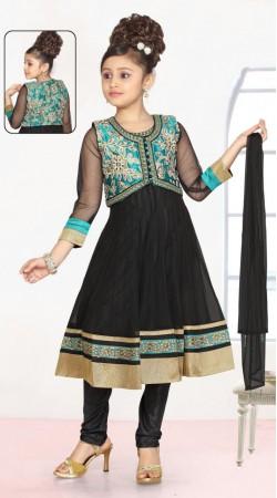 Firozi Short Koti Style Black Georgette Readymade Kids Anarkali Suit DT701337