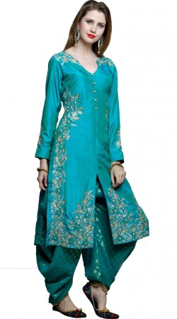 Firozi Silk Designer Punjabi Suit With Dupatta DT10961
