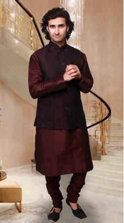 Flamboyant  Wine Art Silk Nehru Waist Coat Style Kurta Pyjama DTKPJ833