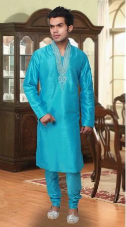 Flamboyant Light Blue Art Silk Neck Embroidered Kurta Pyjama DTKP733