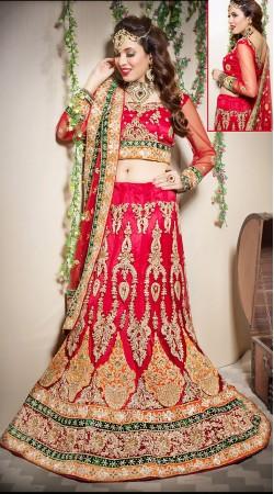 Flamboyant Red Net Semi Bridal Lehenga Choli With Border Embroidered Dupatta LD001405