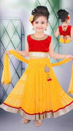 Flamboyant Yellow Net Readymade Lehenga DT502429