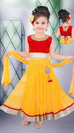 Flamboyant Yellow Net Readymade Lehenga DT502429