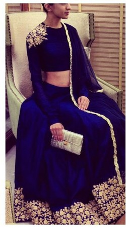 Floral Embroidered Blue Raw Silk Lehenga Choli With Dupatta THS142B01