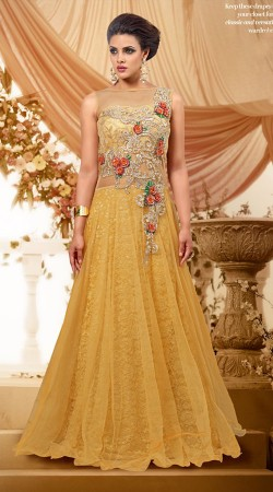 Floral Embroidered Golden Cream Net Designer Indowestern Gown BR106091