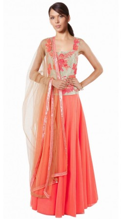 Floral Embroidered Peach Georgette And Net Wedding Lehenga Choli SUUDL8414