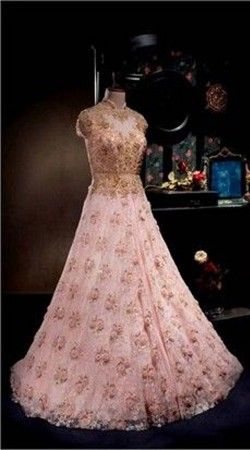 Floral Embroidered Pink Premium Fabric Replica Floor Length Gown BP0904