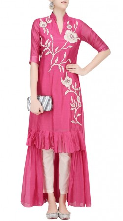Floral embroidered Pink Silk High Low Kameez SUUDS40720