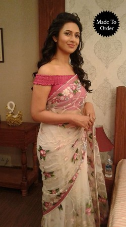 Floral Embroidered White Net T.V Actress Divyanka Tripathi Replica Saree BP2308