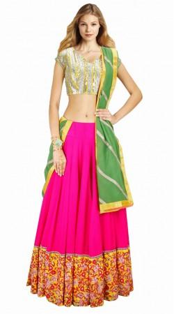Floral Resham Work Ruby Georgette Navratri Chaniya Choli SUUDL3013