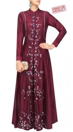 Floral Work Burgundy Silk Anarkali Salwar Kameez SUMS32421