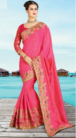 Floral Work Pink Banarsi Silk Saree For Party YW191812