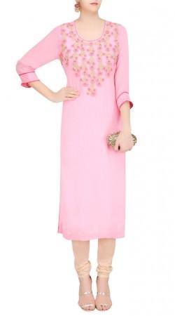 Floral Work Pink Georgette Medium Length Kurti SUUDK19122