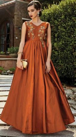 Floral Work Rusty Orange Art Silk Indowestern Gown WG88312