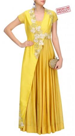 Floral Work Yellow Silk Designer Salwar Kameez SUMS28821