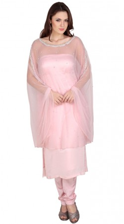 Glamorous Baby Pink Net And Silk Kameez With Stylish Cape SUMS18917