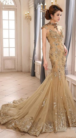 Glamorous Beige Net Heavy Work Embroidered Floor Touch Replica Gown BP2708