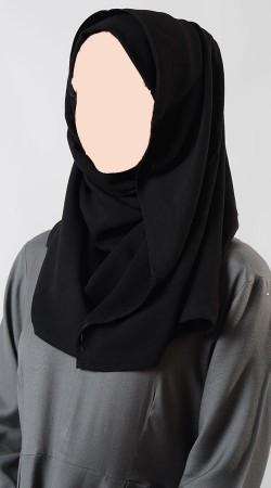 Glamorous Black Moss Crepe Hijab BP1049
