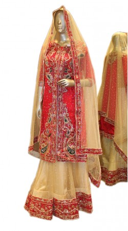 Glamorous Cream Net Designer Lehenga With Red Long Choli SD0958