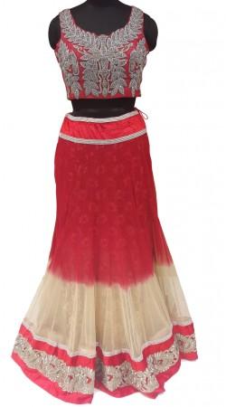 Glamorous Fine Net Red And Cream Designer Lehenga With Heavy Work Choli LD000707