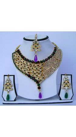 Glamorous Golden Plated Multicolor Stone Work Necklace Set With Tika N61899